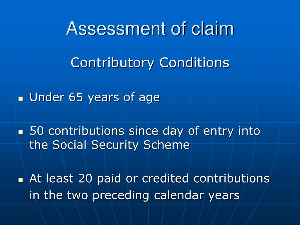 Assessment of claim