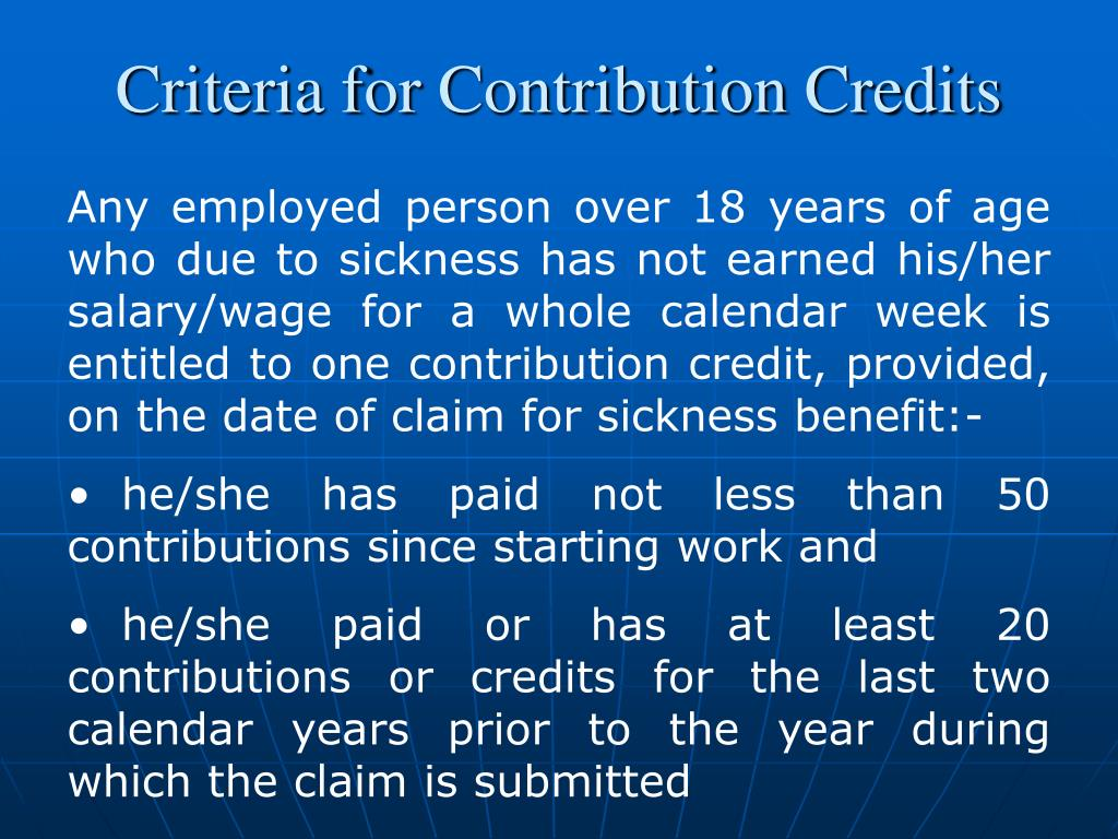 Criteria for Contribution Credits