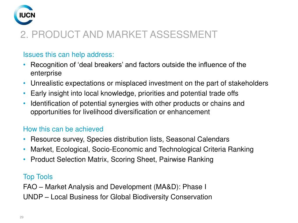 2. PRODUCT AND MARKET ASSESSMENT