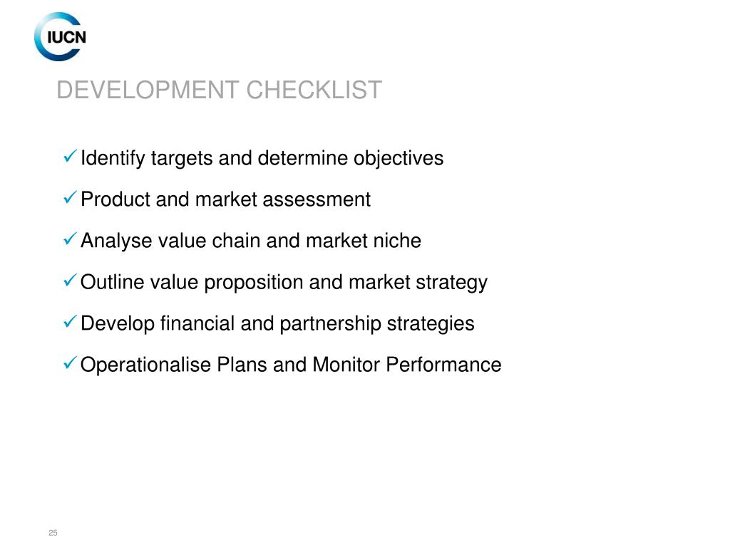 DEVELOPMENT CHECKLIST