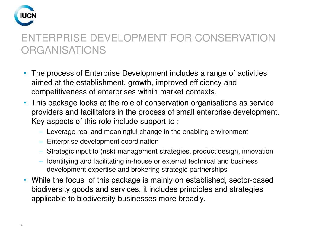 ENTERPRISE DEVELOPMENT FOR CONSERVATION ORGANISATIONS
