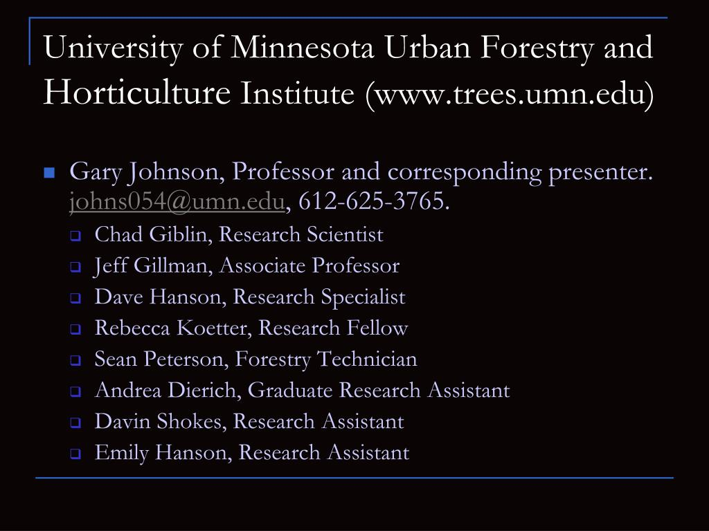 University of Minnesota Urban Forestry and