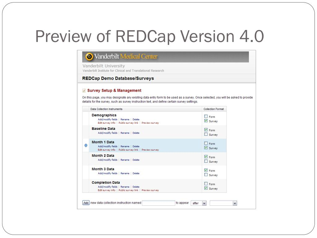 Preview of REDCap Version 4.0