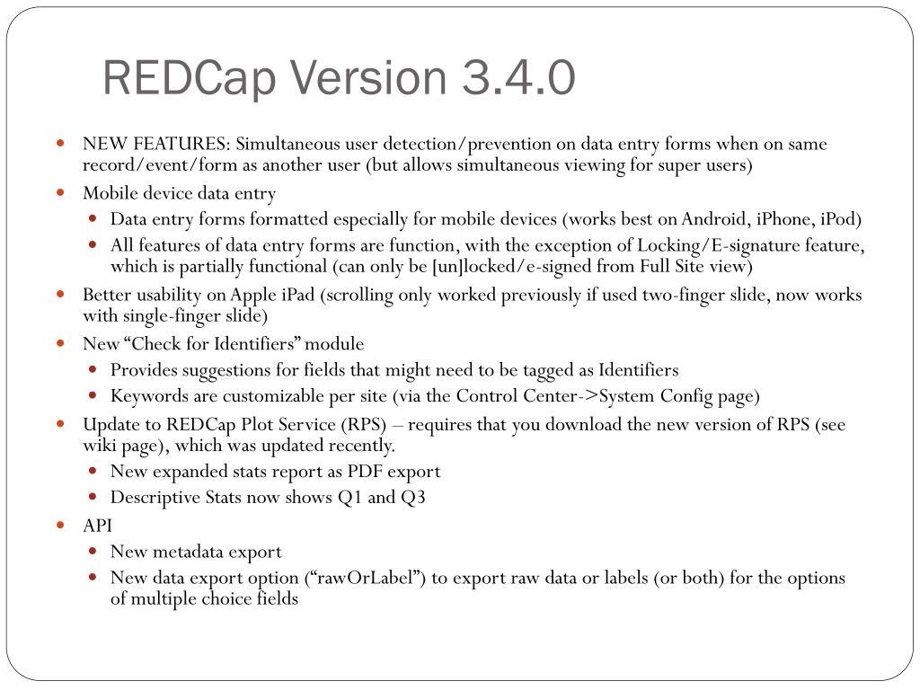 REDCap Version 3.4.0