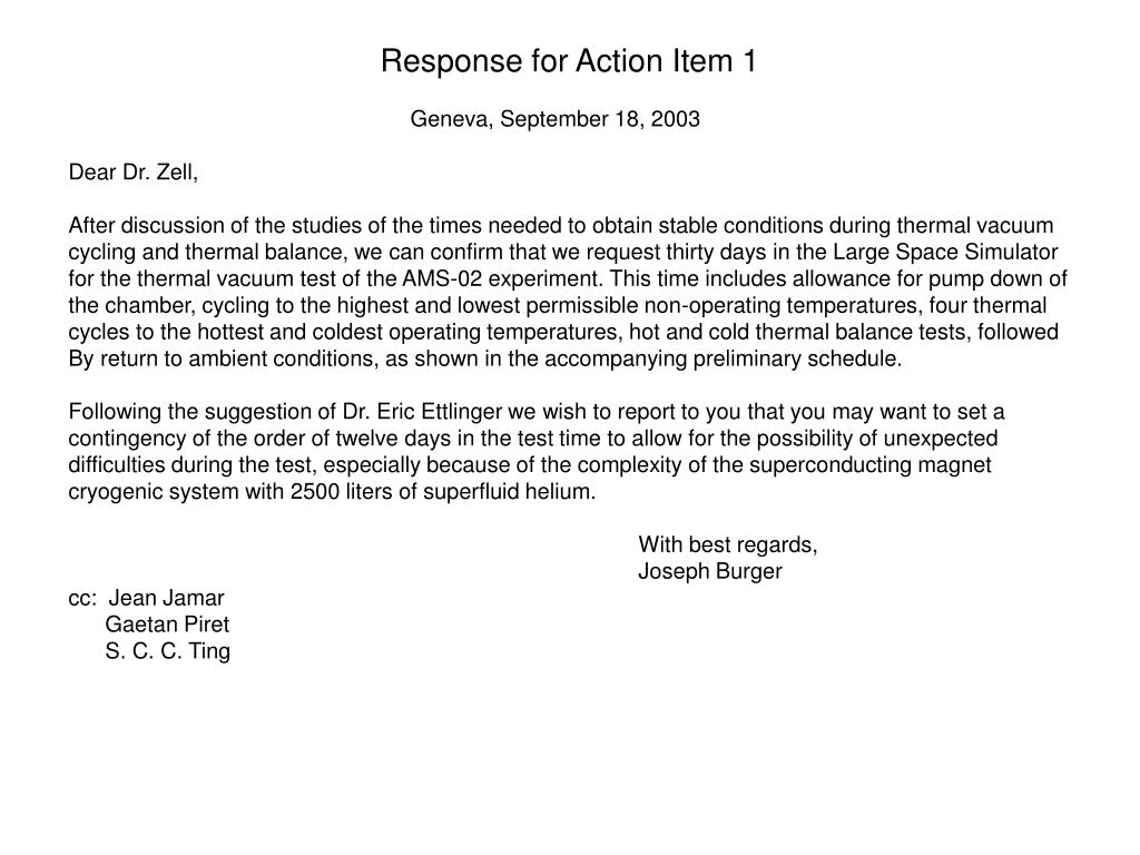 Response for Action Item 1