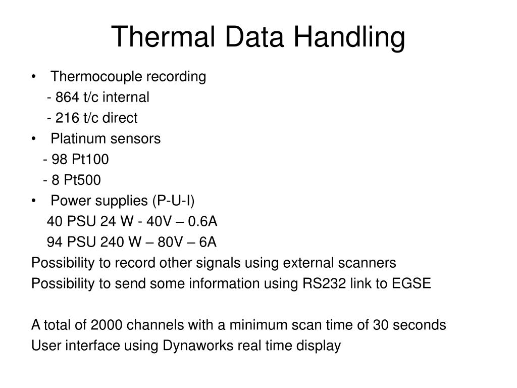 Thermal Data Handling