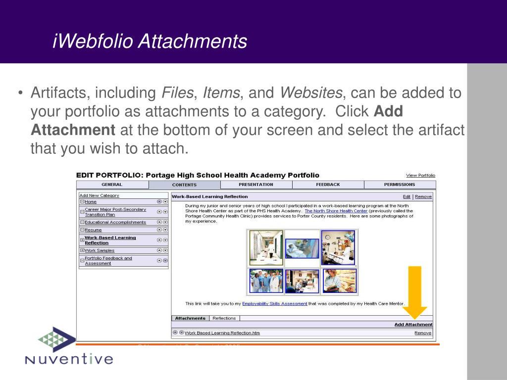 iWebfolio Attachments
