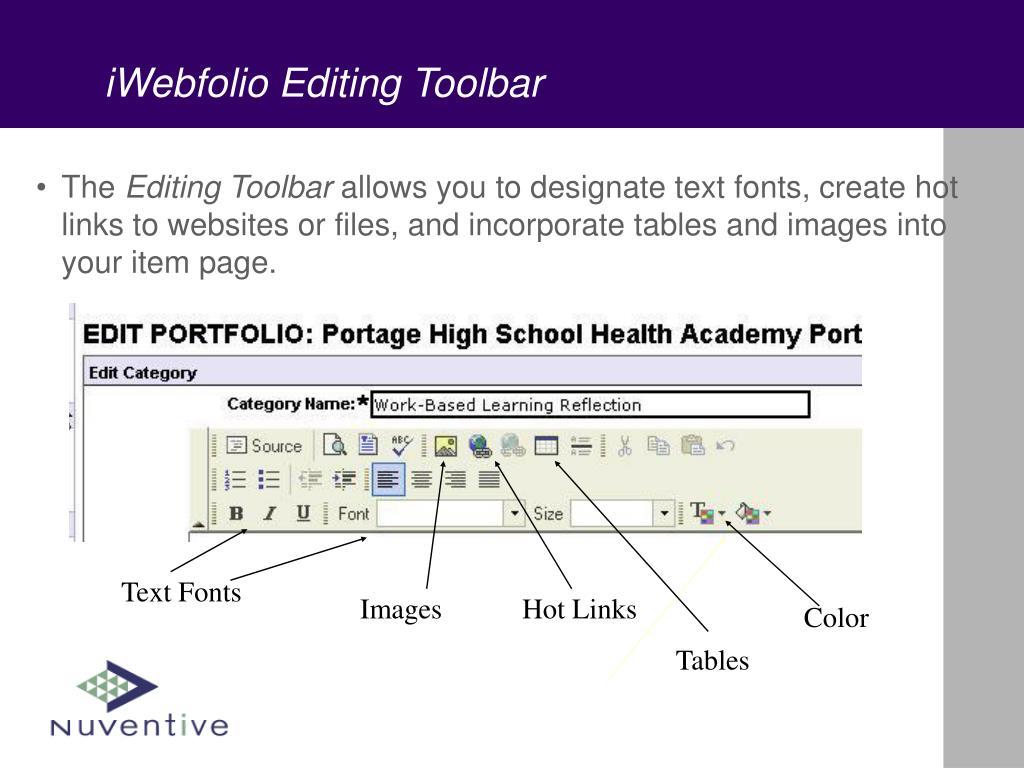 iWebfolio Editing Toolbar