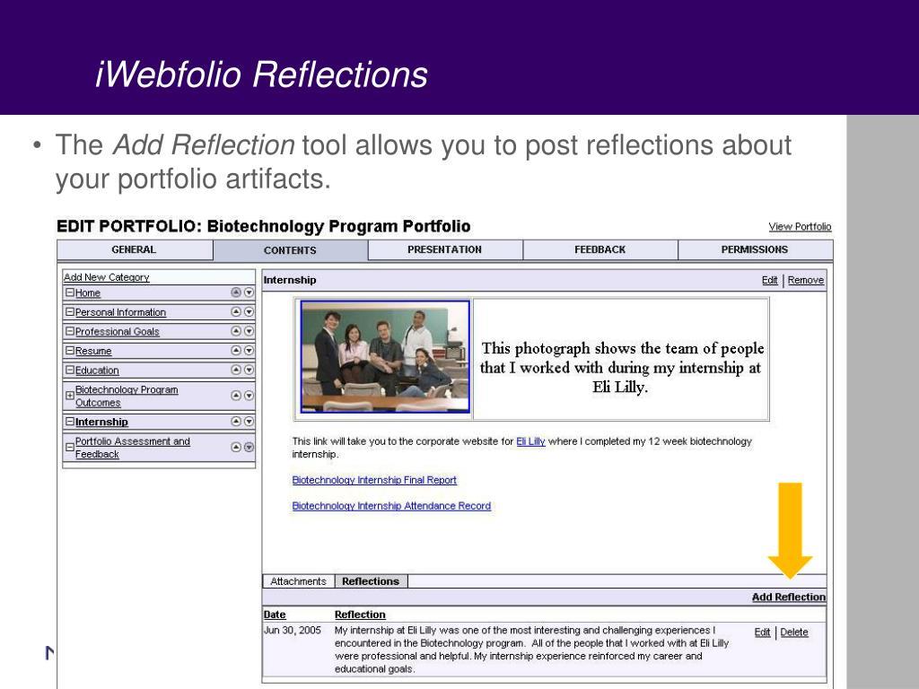 iWebfolio Reflections