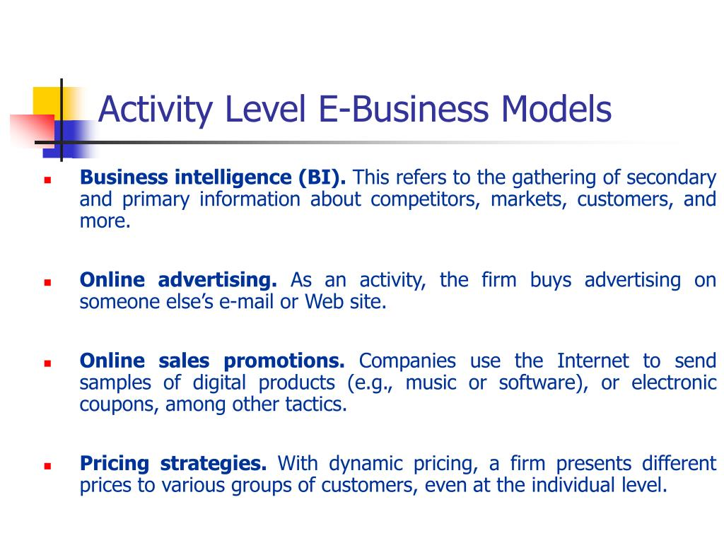Activity Level E-Business Models