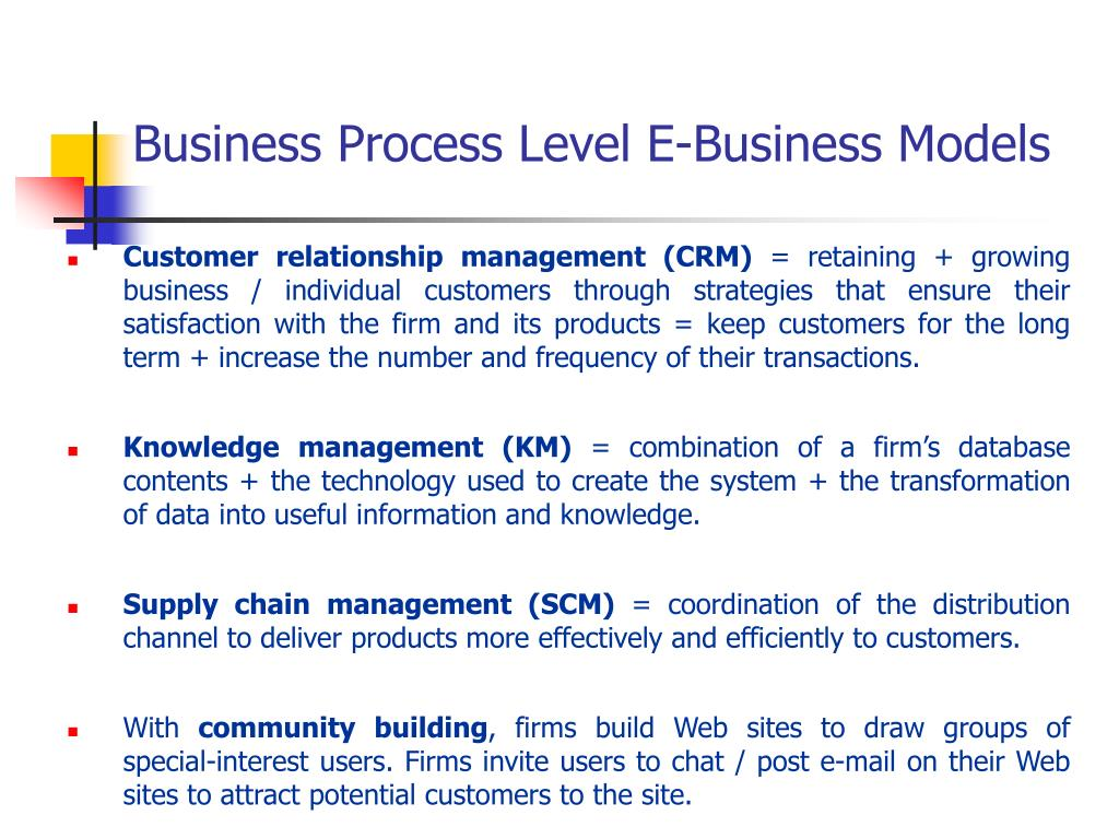 Business Process Level E-Business Models