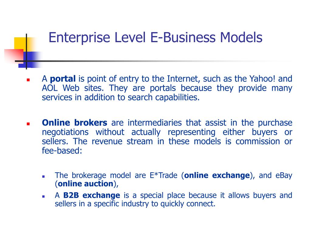 Enterprise Level E-Business Models