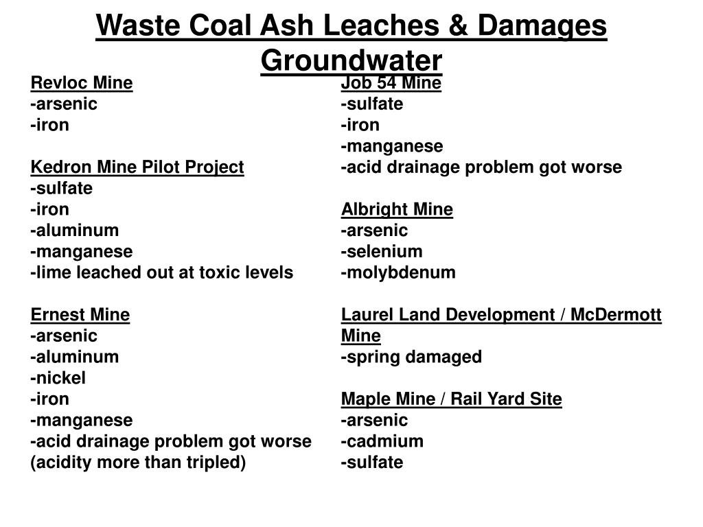 Waste Coal Ash Leaches & Damages Groundwater
