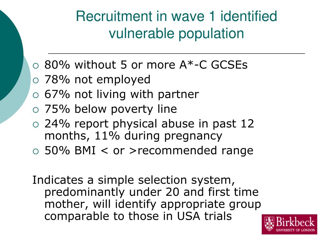 Recruitment in wave 1 identified vulnerable population