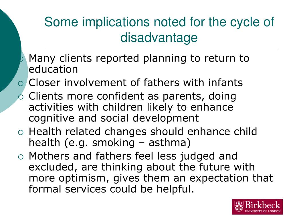 Some implications noted for the cycle of disadvantage
