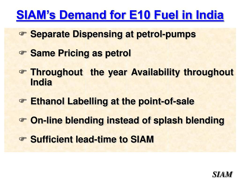 SIAM's Demand for E10 Fuel in India