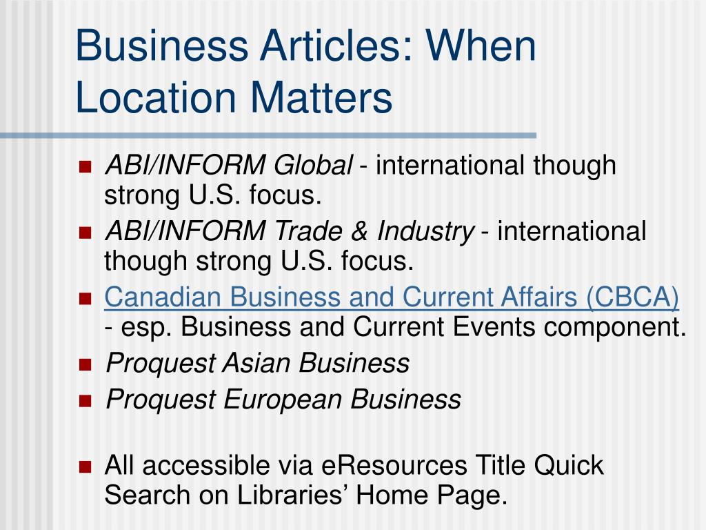 Business Articles: When Location Matters