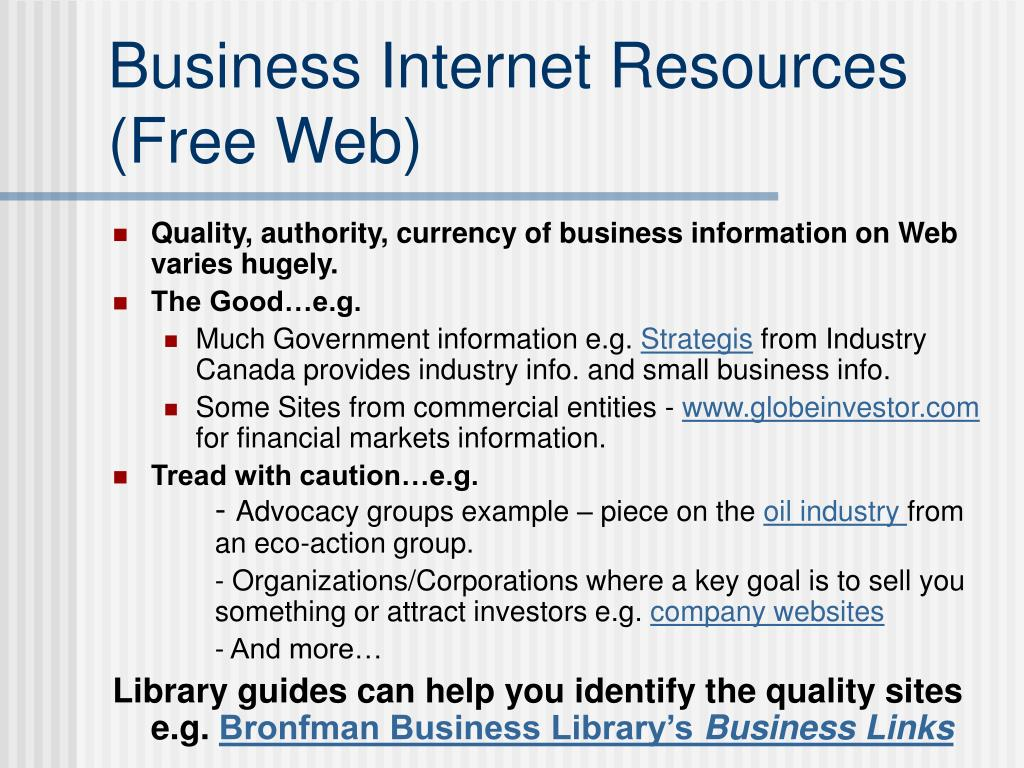 Business Internet Resources (Free Web)