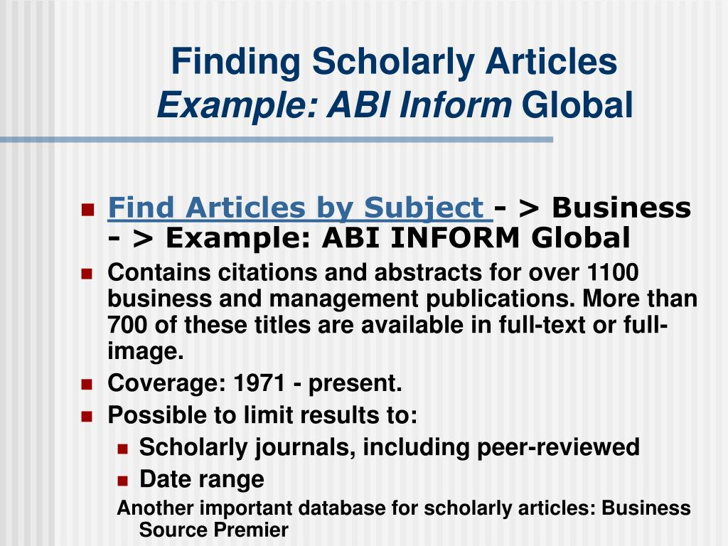 Finding Scholarly Articles