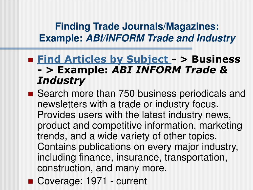 Finding Trade Journals/Magazines: