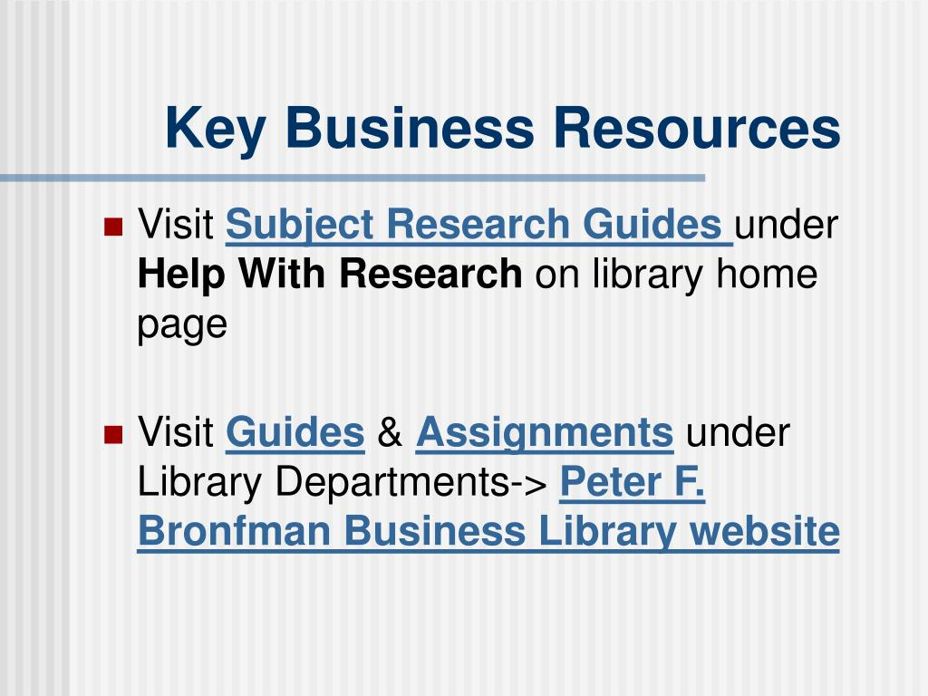 Key Business Resources