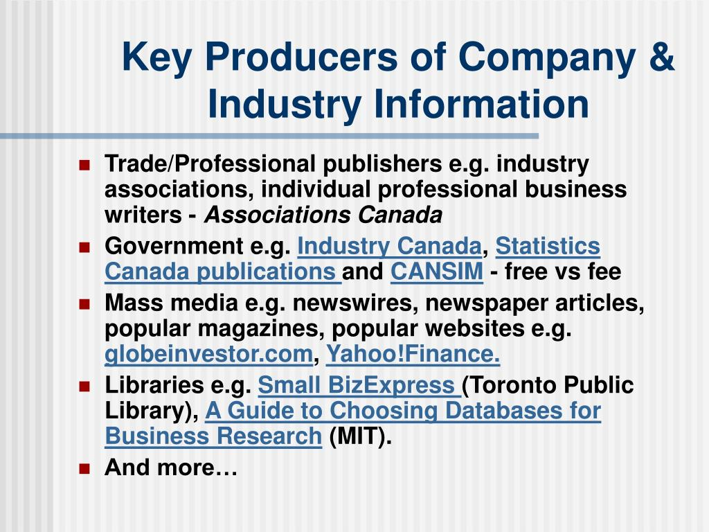 Key Producers of Company & Industry Information