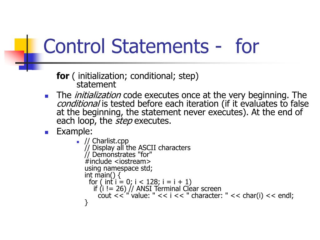 Control Statements -for