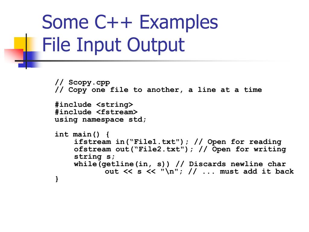 Some C++ Examples