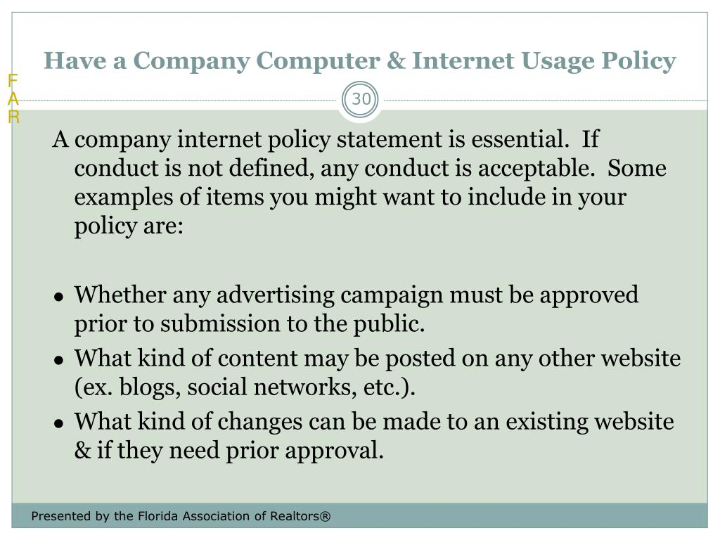 Have a Company Computer & Internet Usage Policy
