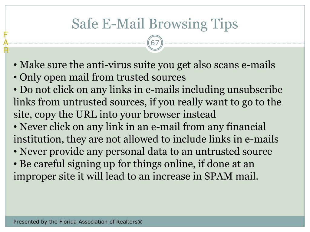 Safe E-Mail Browsing Tips
