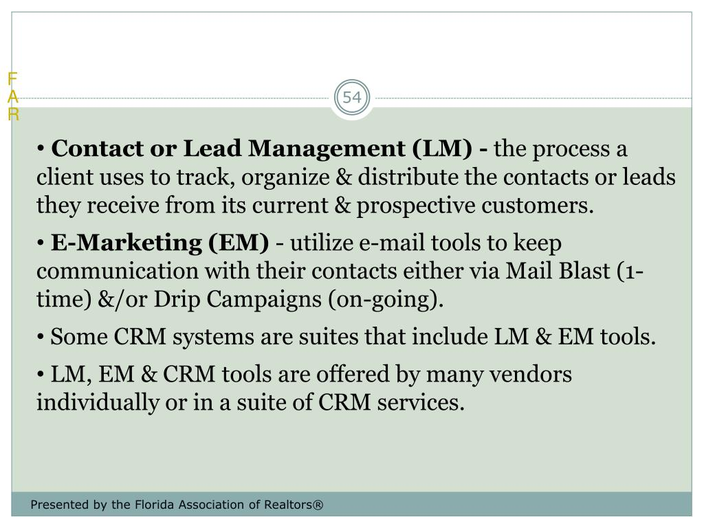Contact or Lead Management (LM) -