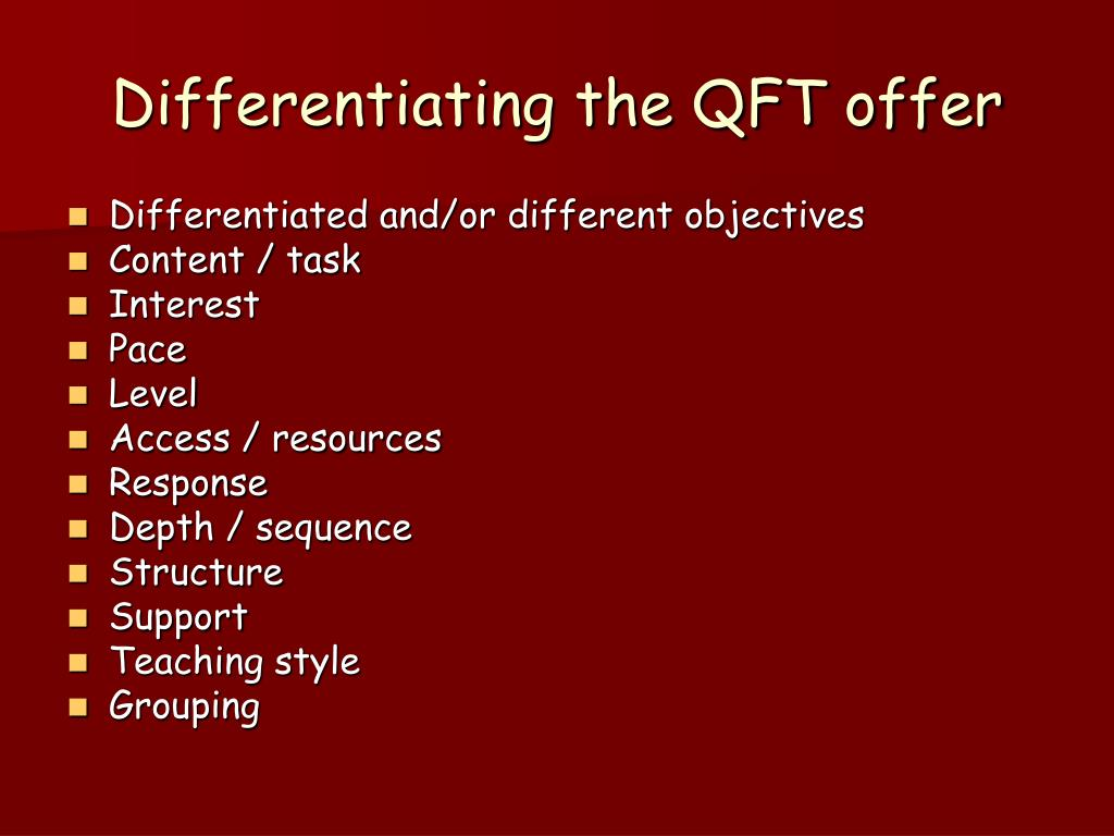 Differentiating the QFT offer