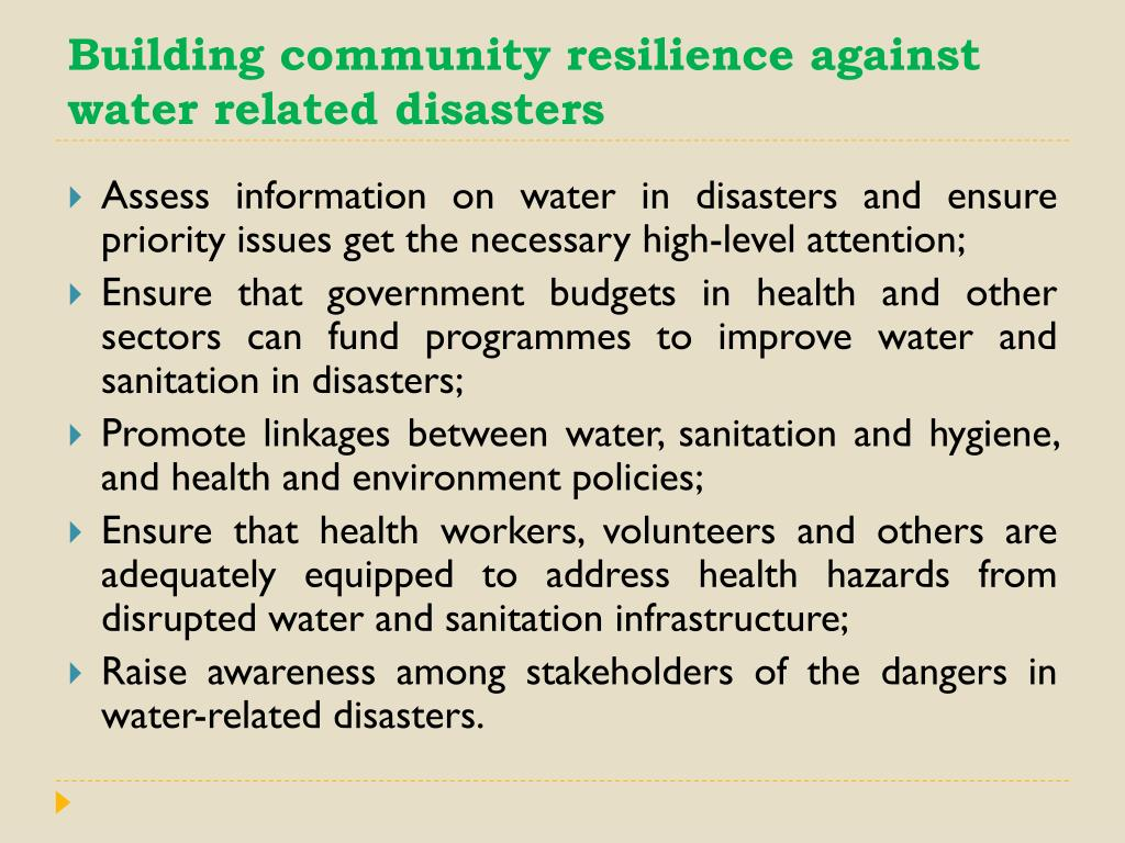 Building community resilience against water related disasters