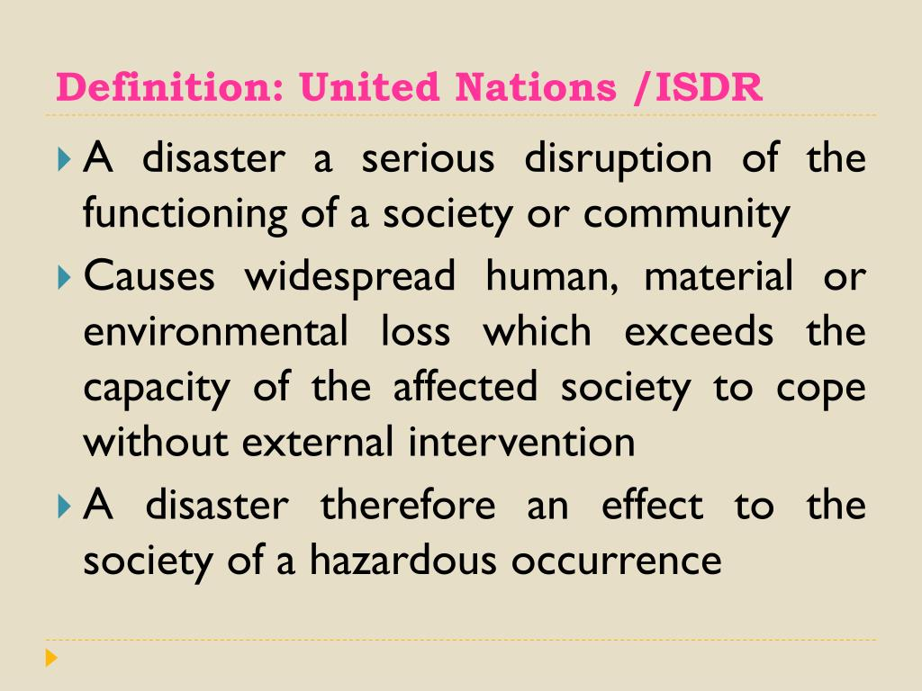 Definition: United Nations /ISDR