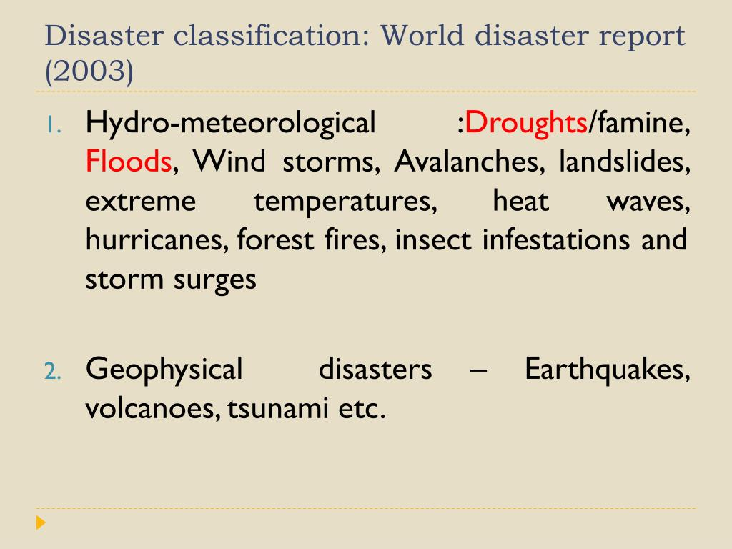 Disaster classification: World disaster report (2003)