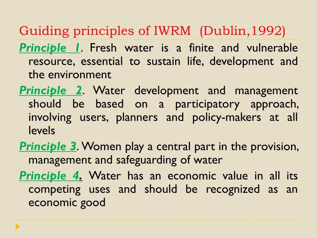 Guiding principles of IWRM  (Dublin,1992)