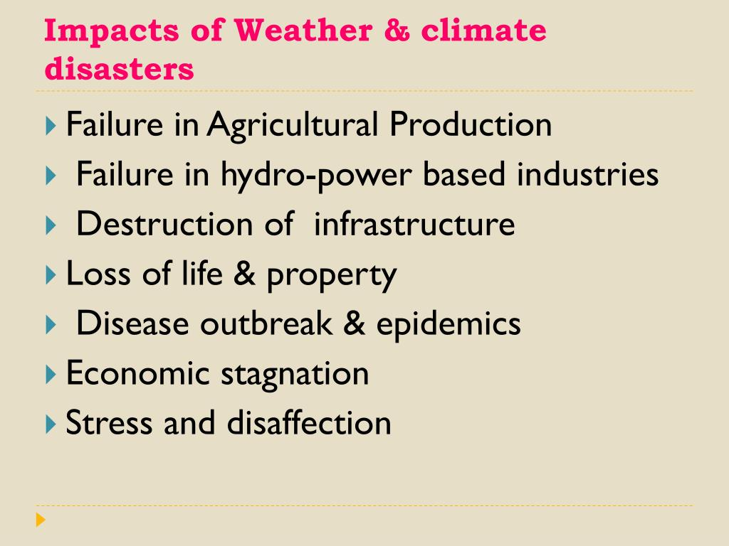 Impacts of Weather & climate disasters