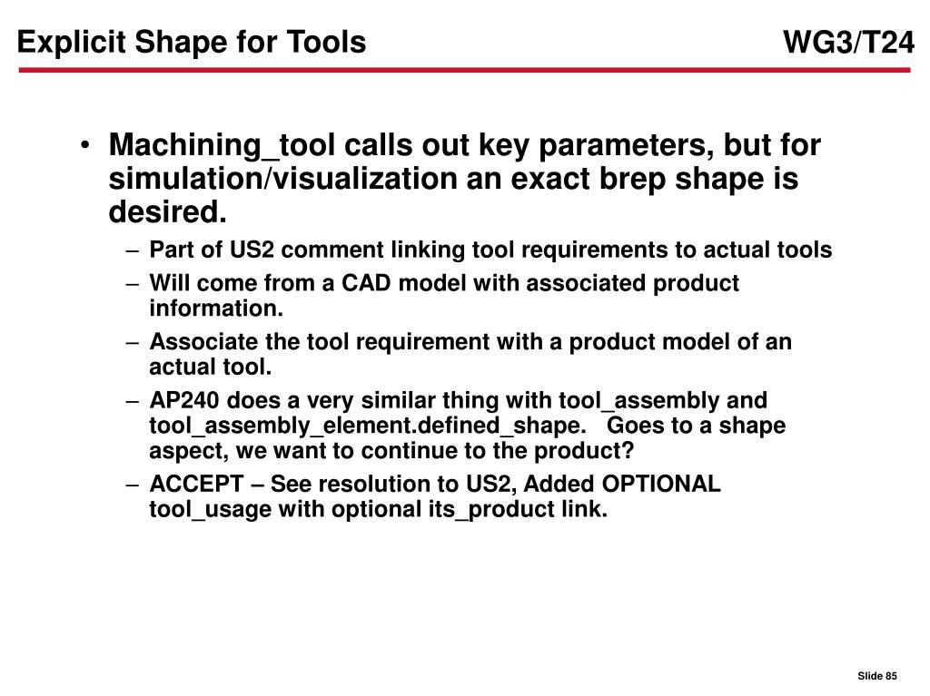 Explicit Shape for Tools