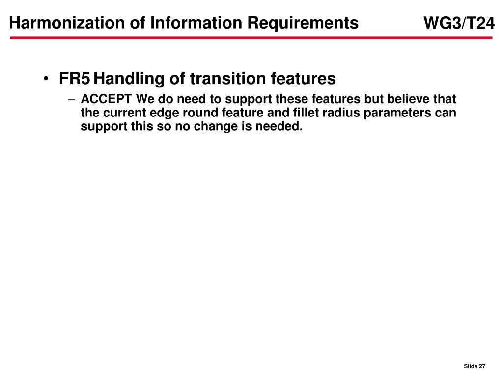 Harmonization of Information Requirements