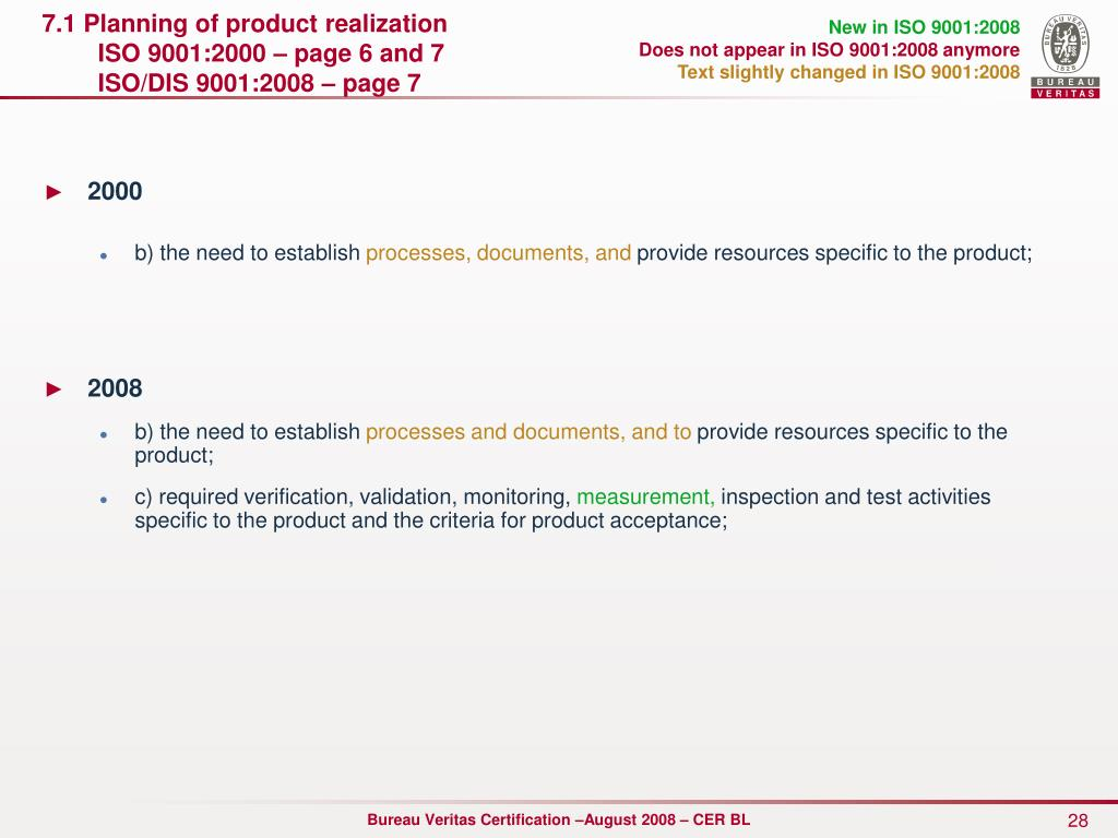 7.1 Planning of product realization