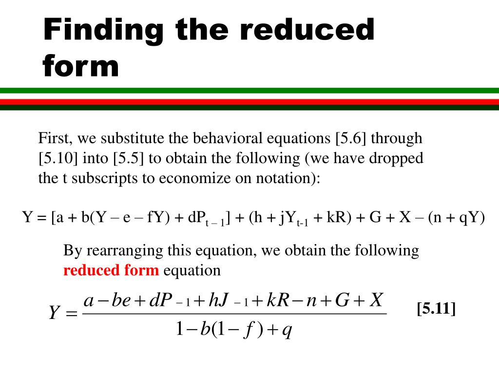 Finding the reduced form