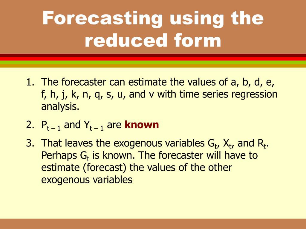 Forecasting using the reduced form