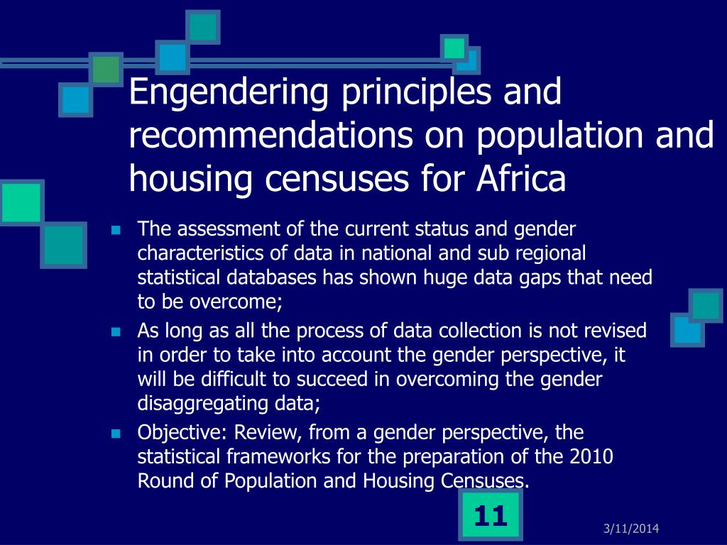Engendering principles and recommendations on population and housing censuses for Africa