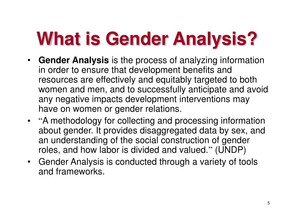 What is Gender Analysis?