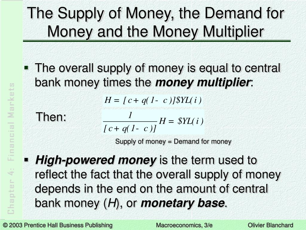 The Supply of Money, the Demand for Money and the Money Multiplier
