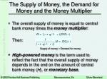 the supply of money the demand for money and the money multiplier