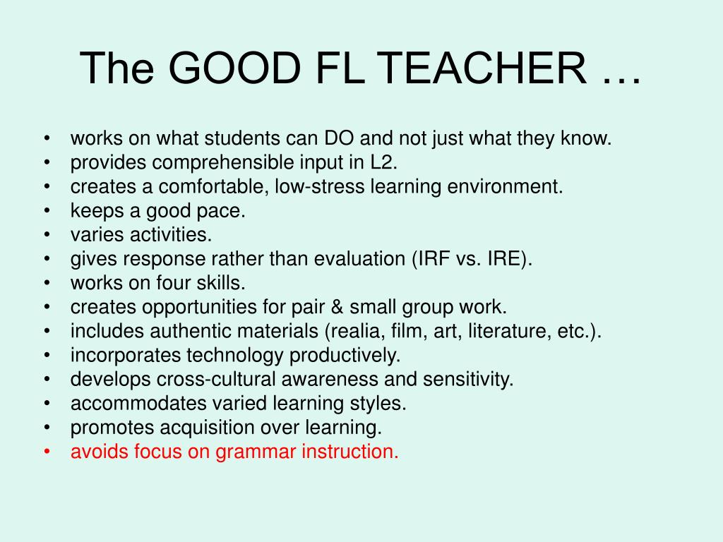 The GOOD FL TEACHER …