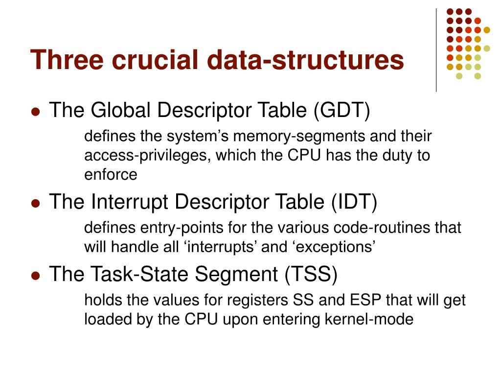 Three crucial data-structures