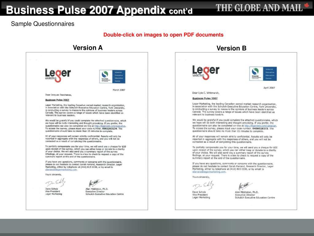 Business Pulse 2007 Appendix
