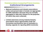 potential problems in preparing ip sector inventory institutional arrangements
